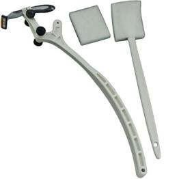 EASY-RAZE Körperhaar- und Rückenrasierer mit Arm-Verlängerung inkl. Schwamm und 3-Klingen-Schwingkopfrasierer Weiß Nassrasierer - 1