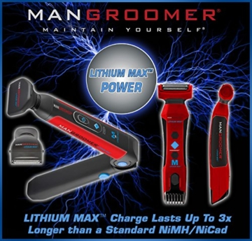 MANGROOMER Lithium Max Back Shaver with 2 Shock Absorber Flex Heads, Power Hinge, Extreme Reach Handle and Power Burst - 11