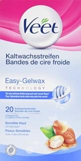 Veet Kaltwachsstreifen Easy-Gelwax Technology Beine & Körper für sensible Haut, 1er Pack (1 x 20 Stück) - 1